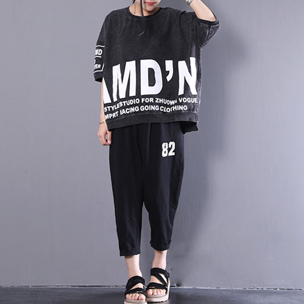 Women Printed Pullovers Black Loose Tops Blouse - Buykud