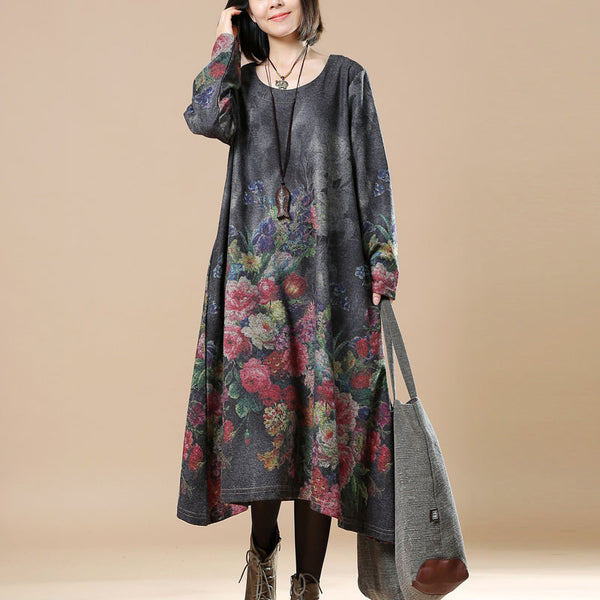 Women Print Casual Loose Round Neck Long Sleeve Dress - Buykud