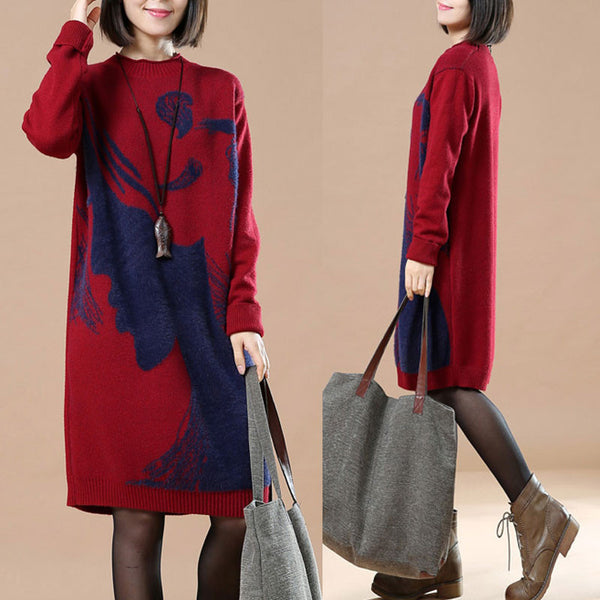 Round Neck Women Wine Red Long Sweater