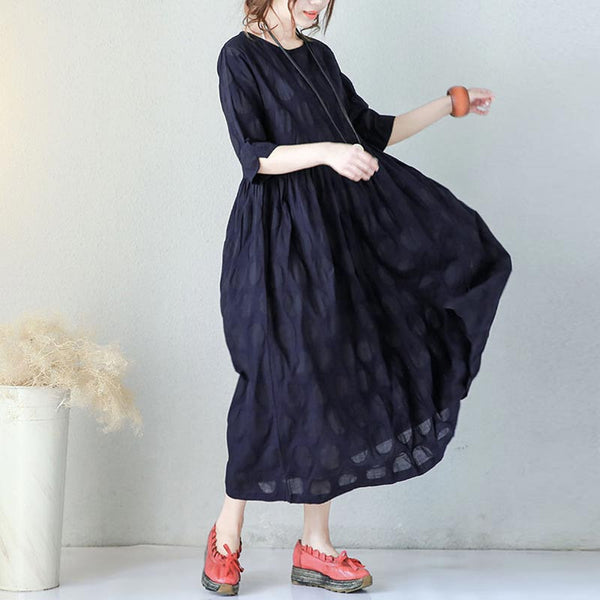 Dot Pleated Pocket Elbow Sleeves Women Navy Blue Dress