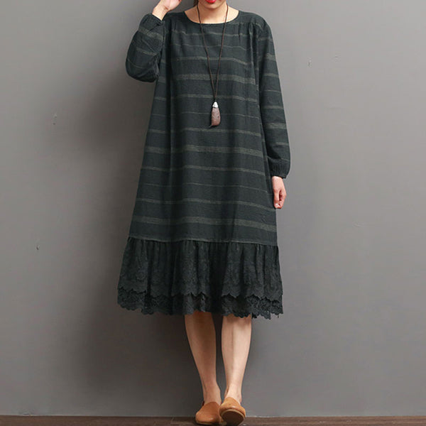 Women Stripe Casual Cotton Linen Splicing Blue Dress