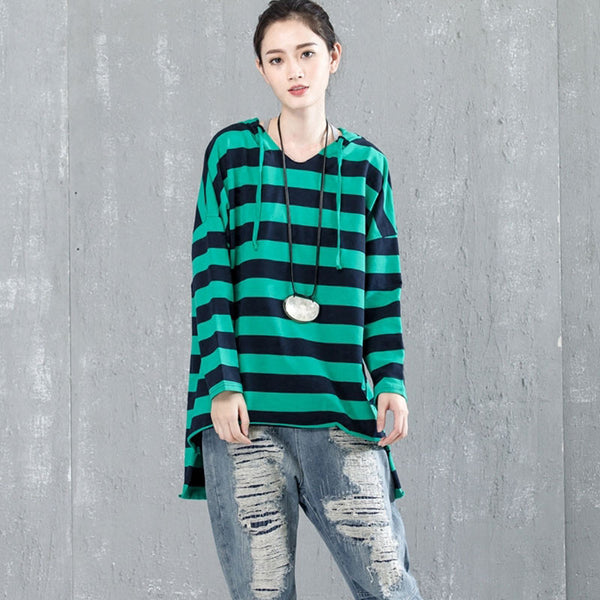 Casual Bat Sleeve Hooded Stripe Shirt