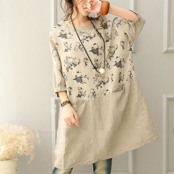 Casual Loose Linen Printing Women Dress