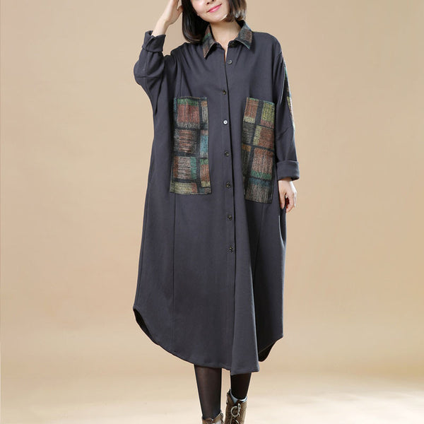 Double Pocket Loose Gray Long Shirt - Buykud