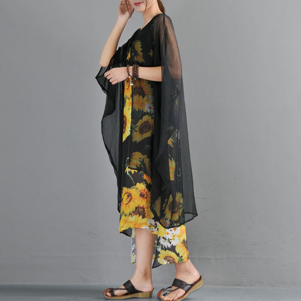 Summer Fake Two Pieces Yellow Flower Printed Bat Sleeve Dress - Buykud