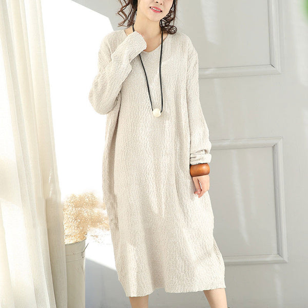 Spring Cotton Comfortable Long Sleeves Dress