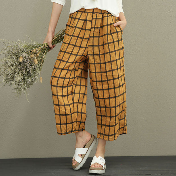 Literature Women Ramie Yellow Lattice Wide Leg Pants - Buykud