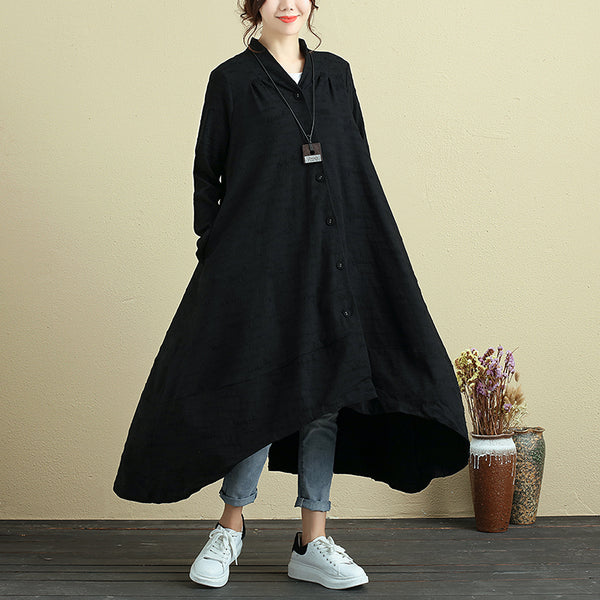 Autumn Irregular Casual Loose Black Dress For Women - Buykud