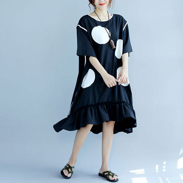 Stylish White Applique Dot Round Neck Short Sleeve Women Black Dress - Buykud