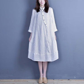 Spring Polo Collar Casual Irregular White Stripe Dress - Buykud