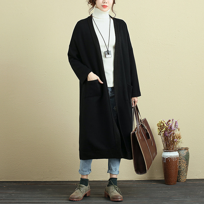 Autumn Loose Casual Simple Black Thin Coat For Women - Buykud