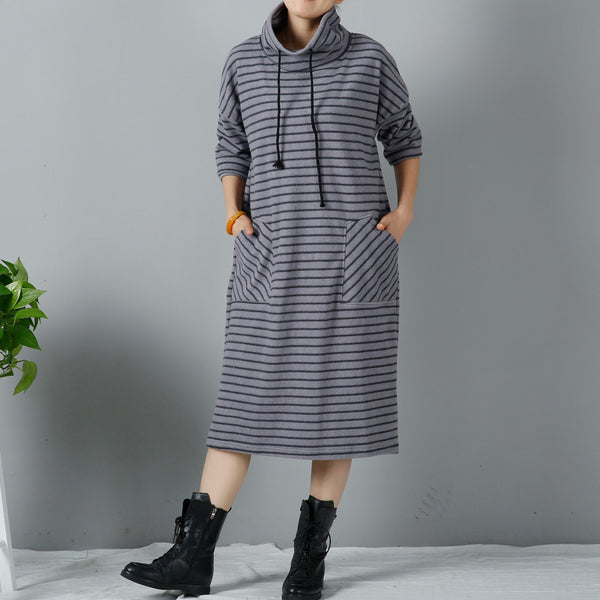 Gray Women Casual Loose Winter Long Sleeve Dress