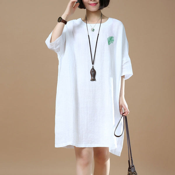 Spring Retro Embroidered Women Round Neck White Dress - Buykud