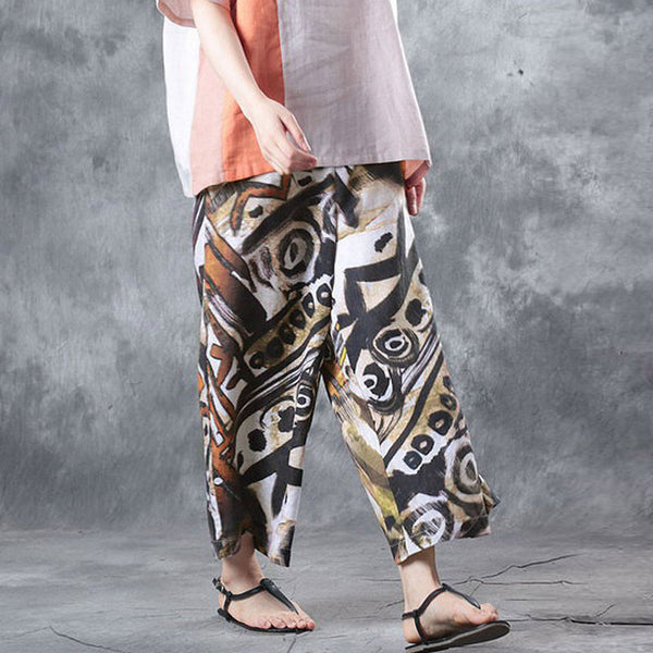 Retro Printing Loose Colorful Women Wide Leg Pants - Buykud
