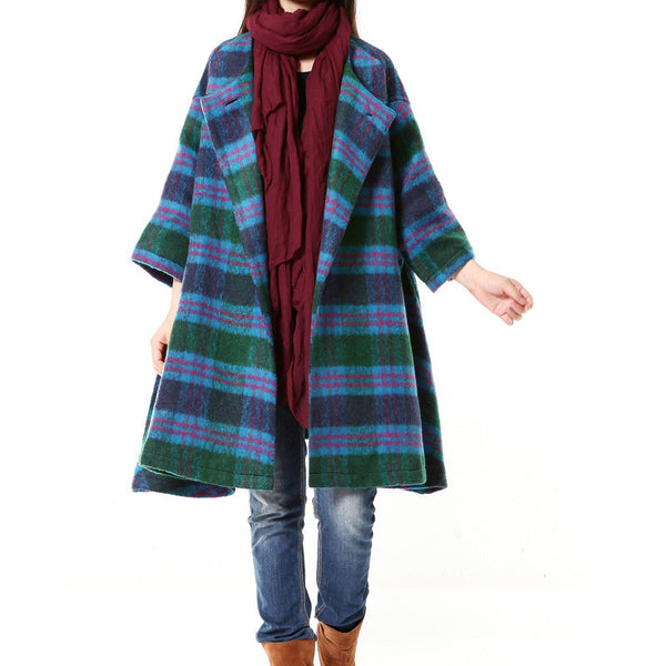 Blue Women Casual Loose Coat