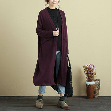 Women Long Sleeve Stripe Pockets Dark Red Cardigan Coat - Buykud