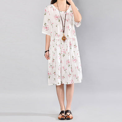 Baggy Printing Pocket Elbow Sleeves White Dress - Buykud
