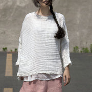 Women Distressed Plain White Casual Three Quarter Sleeve Tops - Buykud