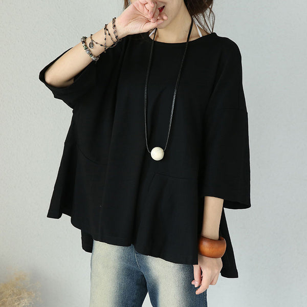Cotton Round Neck Loose Casual Black Shirt - Buykud