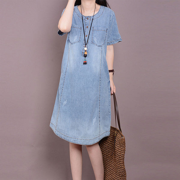 Women Cotton Summer Denim Dress - Buykud