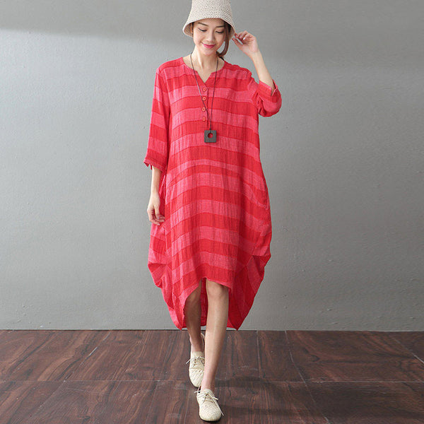 Irregular Linen Loose Red Dress