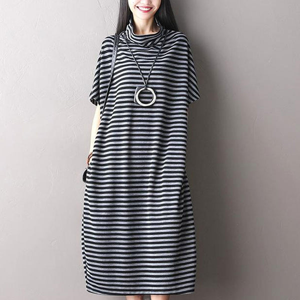 Striped  Loose Short Sleeve Cotton Dress