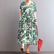 Literature Round Neck Leaf Printing Short Sleeves Green Women Dress - Buykud