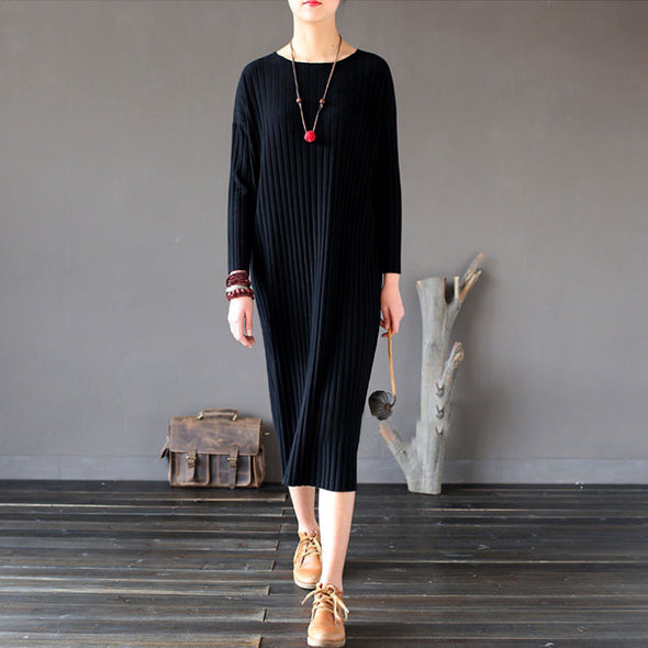 Retro Fitting Women Casual Spring Cotton Plain Black Dress - Buykud