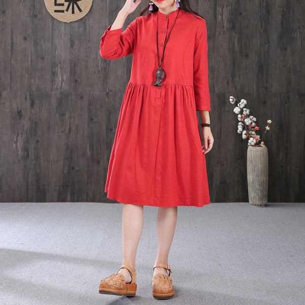 Women Cotton Linen Stand Collar Pleated Three Quarter Sleeves Red Dress - Buykud