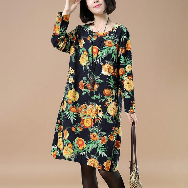 Retro Round Neck Printing Plus Szie Yellow Dress