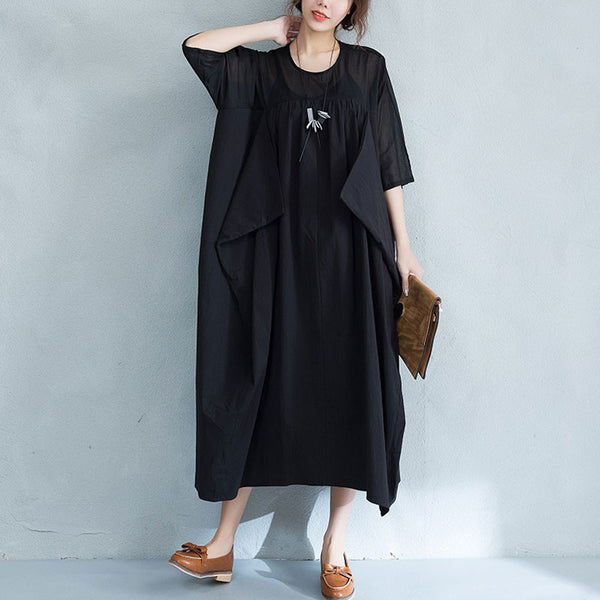Irregular Splicing Casual Loose Women Black Dress
