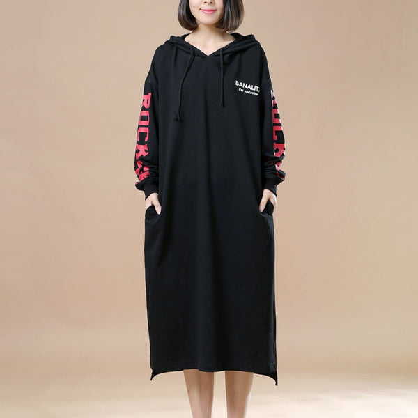 Spring Casual Loose Hooded Black Long Pullover