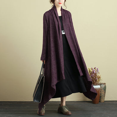 Women Long Sleeve Pockets Irregular Dark Red Cardigan Coat - Buykud