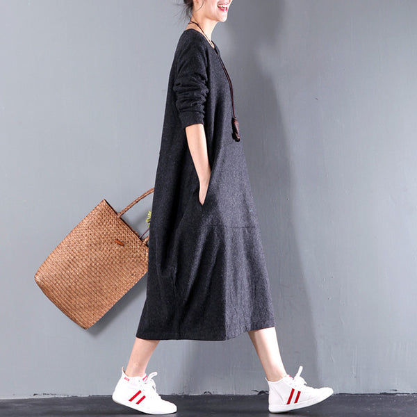 Women Casual Loose Woolen Dress