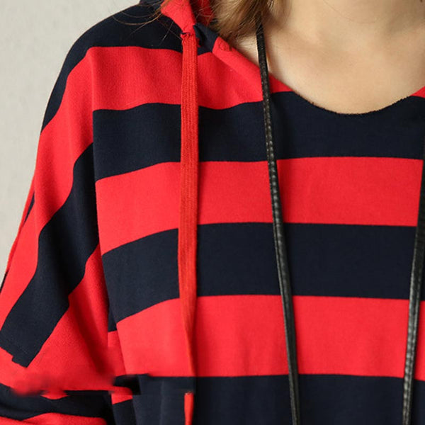 Hooded Striped Casual T Shirt