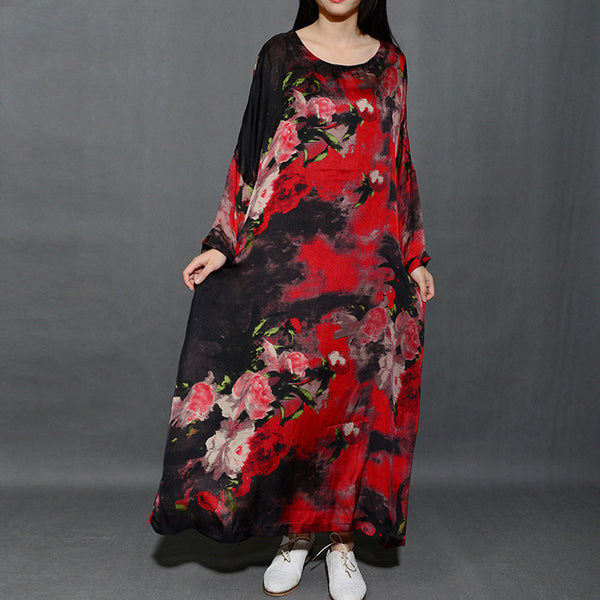 Round Neck Printing Loose Red Long Dress