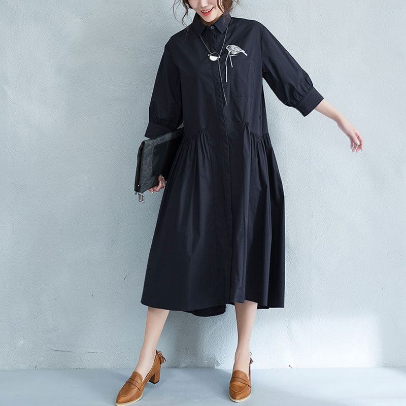 Cotton Women Embroidered Loose Splicing  Shirt Dress - Buykud
