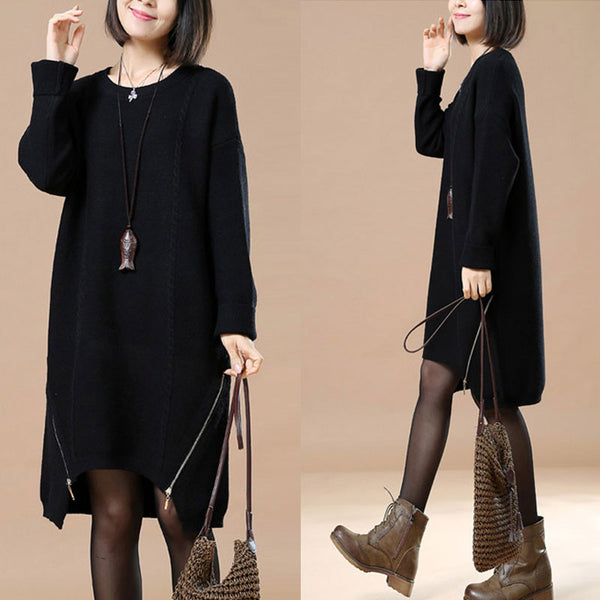 Casual Loose Long Black Sweater