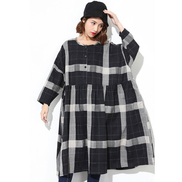 Spring Long Sleeves Black Lattice Dress