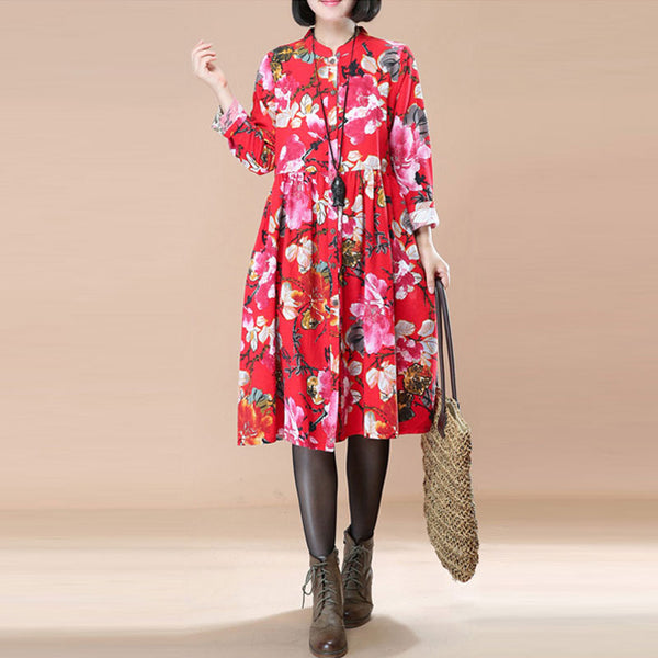 Literature Ethnic Style Floral Pleated Stand Collar Long Sleeves Red Dress