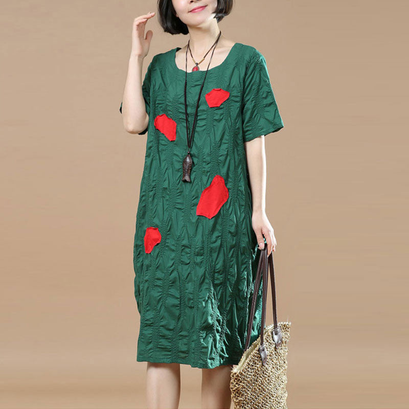 Round Neck Summer Women Short Sleeves Green Dress - Buykud