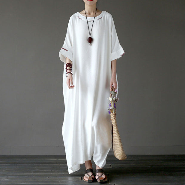 Women Flax Cotton 1/2 Sleeve Embroidery White Dress