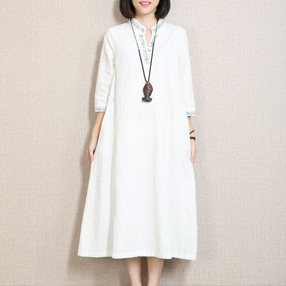 Retro Embroidered Three Quarter Sleeve White Dress - Buykud