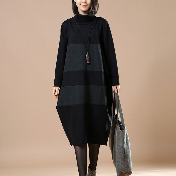 Autumn And Winter Turtleneck Cotton Gray Dress