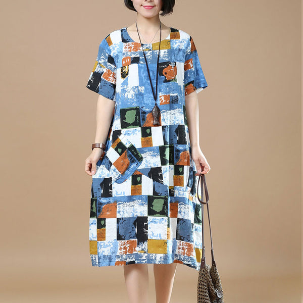 Summer Women Retro Printing Large Size Blue Dress