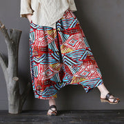 Summer Retro Printed Loose Low Crotch Cotton Pants - Buykud