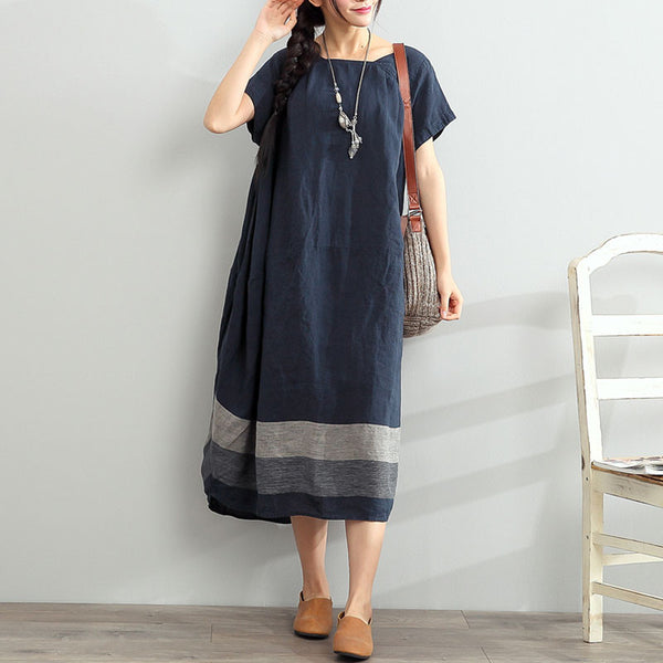 Short Sleeves Loose Stripe Linen Blue Dress