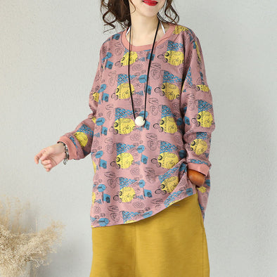 Retro Printing Cotton Loose Pink Shirt - Buykud