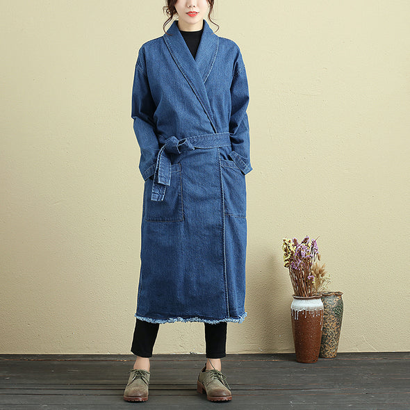 Casual Loose Long Sleeve Autumn Blue Denim Coat For Women - Buykud