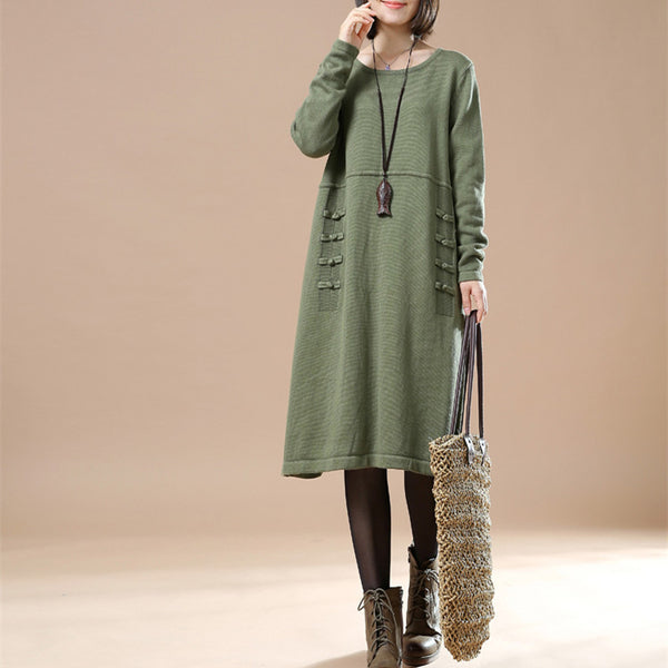 Casual loose cotton Knitted sweater dress